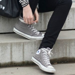 Gray Converse High Tops